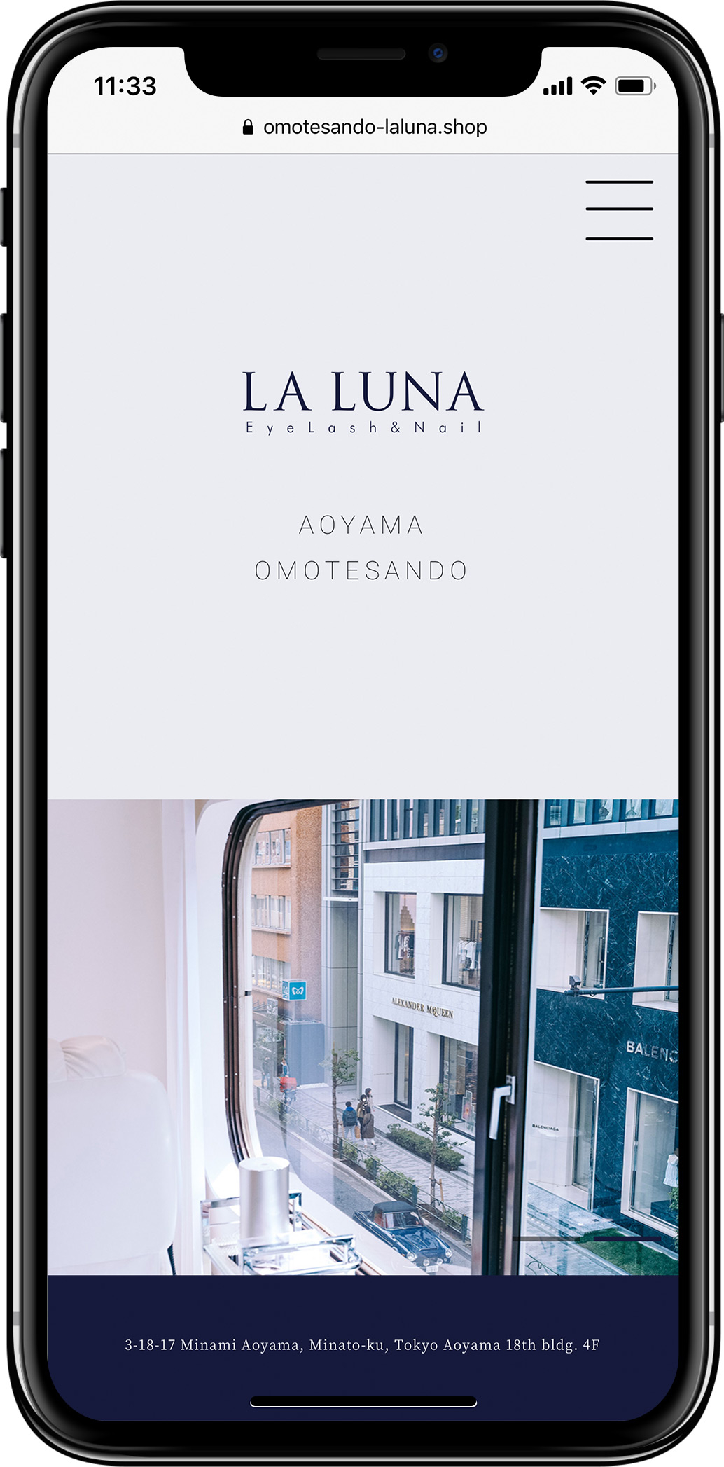 ラルナ様のウェブサイトを新規制作しましたスマートフォンの見た目